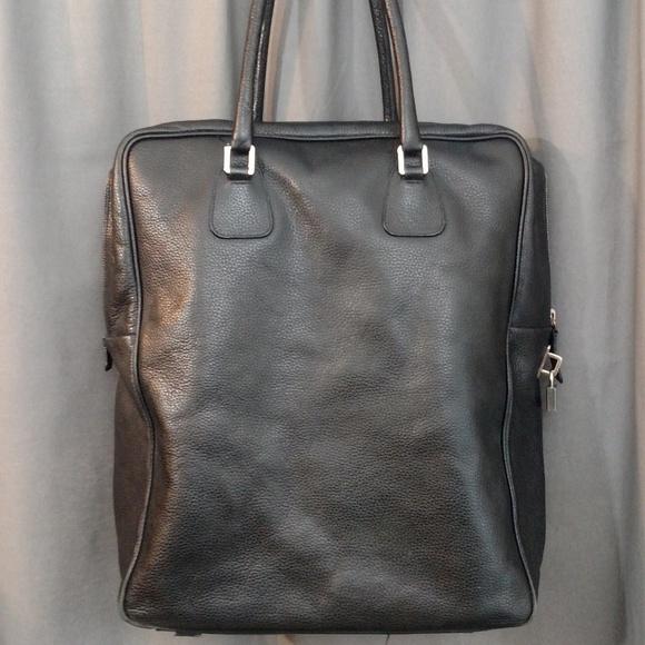 Jil Sander Men's Black Leather Key & Lock Tote Bag